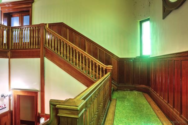 Grand staircase in Gravelbourg Elementary vestibule
