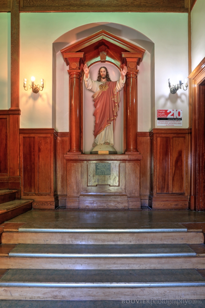 Statue of Jesus as you walk into the main entrance.